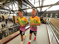 SAN JOSE, CA - AUGUST 17: Paul Marie #3 and Jackson Yueill #14 of the San Jose Earthquakes before a game between Minnesota United FC and San Jose Earthquakes at PayPal Park on August 17, 2021 in San Jose, California.