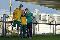 Sporting 2XU gear - Brenden Hall, Maddison Elliott and Ahmed Kelly / Para-swimming athletes<br /> 2016 APC RIO Uniform Launch with the city of Sydney as the backdrop shot from the Star Casino<br /> Australian Paralympic Committee<br /> Star Casino / Sydney / NSW<br /> Monday 6 June 2016<br /> © Sport the library / Jeff Crow