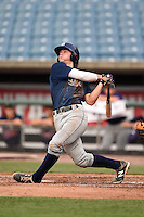 Brendan Rodgers (22) of Lake Mary High School in Longwood, Florida hits a home run while playing for the Tampa Bay Rays scout team during the East Coast Pro Showcase on August 1, 2014 at NBT Bank Stadium in Syracuse, New York.  (Mike Janes/Four Seam Images)