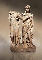Roman statue of two women; Marble. Perge. 2nd century AD. Inv 3271. Antalya Archaeology Museum; Turkey. Against a warm art background.
