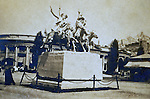 """St Louis MO:  A view of the famous Remington statue of """"Cowboys off the trail""""."""