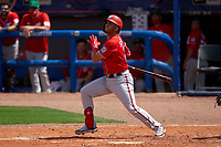 Washington Nationals Luis García (2) bats during a Major League Spring Training game against the New York Mets on March 18, 2021 at Clover Park in St. Lucie, Florida.  (Mike Janes/Four Seam Images)