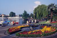 Switzerland, Ticino, Locarno, Lakefront park along Lake Maggiore in the city of Locarno.