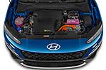 Car Stock 2021 Hyundai Kona-Hybrid Sky 5 Door SUV Engine  high angle detail view