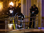 Tallahassee police investigate a shooting outside the Strozier library on the Florida State University campus in Tallahassee, FL. Nov 20, 2014.   The gunman was shot and killed by police officers. (AP Photo/Mark Wallheiser)