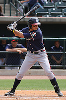 Ramon Flores  of the Rome Braves at bat during a game against the Charleston RiverDogs on April 27, 2010  in Charleston, SC.