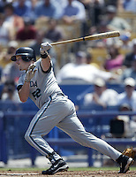 Mike Redmond of the Florida Marlins bats during a 2002 MLB season game against the Los Angeles Dodgers at Dodger Stadium, in Los Angeles, California. (Larry Goren/Four Seam Images)