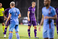 LAKE BUENA VISTA, FL - JULY 14: Robin Jansson #6 of Orlando City SC waits for the corner during a game between Orlando City SC and New York City FC at Wide World of Sports on July 14, 2020 in Lake Buena Vista, Florida.