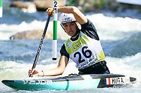 5th September 2021; Parc Olimpic del Segre, La Seu D'Urgell ICF Slalom World Cup, Women's Canoe Final;  Angele Hug (FRA)