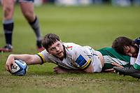 21st March 2021; AJ Bell Stadium, Salford, Lancashire, England; English Premiership Rugby, Sale Sharks versus London Irish; Ben Donnell of London Irish scores a try