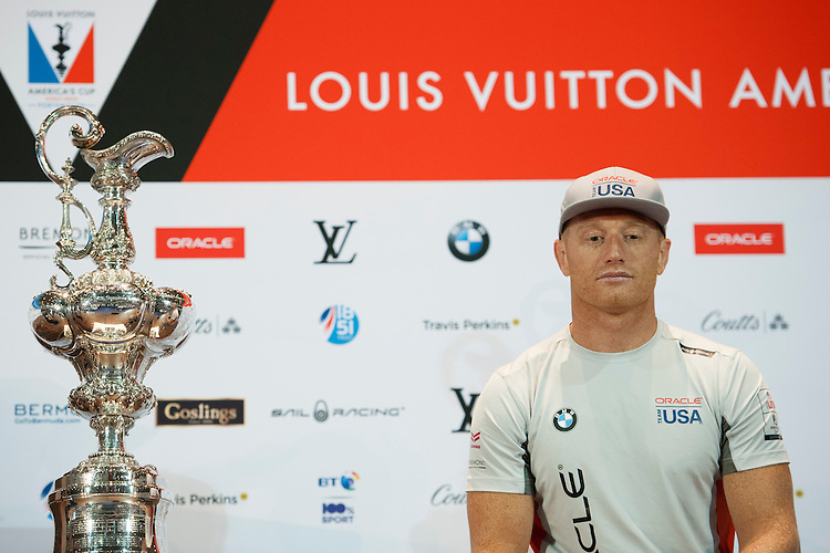 Jimmy Spithill, JULY 21, 2016 - Sailing: Jimmy Spithill, skipper Oracle Team USA with the America's Cup trophy during the Louis Vuitton America's Cup World Series press conference, Portsmouth, United Kingdom. (Photo by Rob Munro/Stewart Communications)