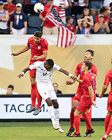 KANSAS CITY, KS - JUNE 26: Matt Miazga #19 goes up over Jose Fajardo #17 for a header during a game between Panama and USMNT at Children's Mercy Park on June 26, 2019 in Kansas City, Kansas.