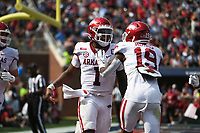 Arkansas quarterback KJ Jefferson (1) scores, Saturday, October 9, 2021 during the third quarter of a football game at Vaught Hemingway Stadium in Oxford, Miss. Check out nwaonline.com/211010Daily/ for today's photo gallery. <br /> (NWA Democrat-Gazette/Charlie Kaijo)