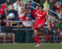 Marist College defender Jessica Arabia (6) clears the ball. Boston College defeated Marist College, 6-1, in NCAA tournament play at Newton Campus Field, November 13, 2011.