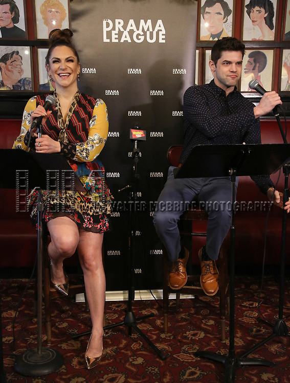Shoshana Bean and Jeremy Jordan attends the 2019 Drama League Nominees Announcement at Sardi's on April 17, 2019 in New York City.