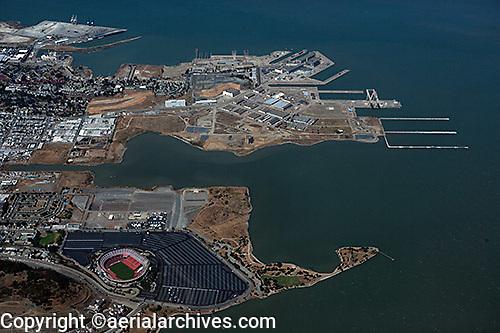 Aerial photograph Hunters Point Candlestick Park San Francisco California