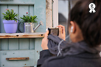 Teenager Girl (16) taking photo of plants in pot (Licence this image exclusively with Getty: http://www.gettyimages.com/detail/97659144 )