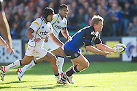 Michael Claassens of Bath Rugby passes as Sam Tuitupou of Sale Sharks approaches during the Aviva Premiership match between Bath Rugby and Sale Sharks at the Recreation Ground on Saturday 29th September 2012 (Photo by Rob Munro)
