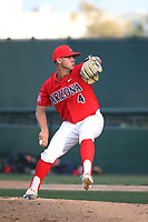 Landon Faulkner (4) of the Arizona Wildcats pitches against the UCLA Bruins at Jackie Robinson Stadium on March 19, 2017 in Los Angeles, California. UCLA defeated Arizona, 8-7. (Larry Goren/Four Seam Images)
