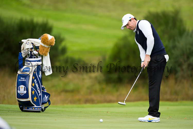 Irishman Rory McIlroy putts out on the 6th green during a practice session at Gleneagles Golf Course, Perthshire. Photo credit should read: Kenny Smith/Press Association Images.