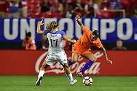 Atlanta, GA - Sunday Sept. 18, 2016: Tobin Heath, Shanice van de Sanden during a international friendly match between United States (USA) and Netherlands (NED) at Georgia Dome.
