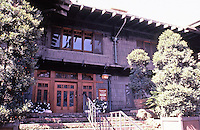 Greene & Greene:  Gamble House, Pasadena CA, 1908. Front entrance.<br />