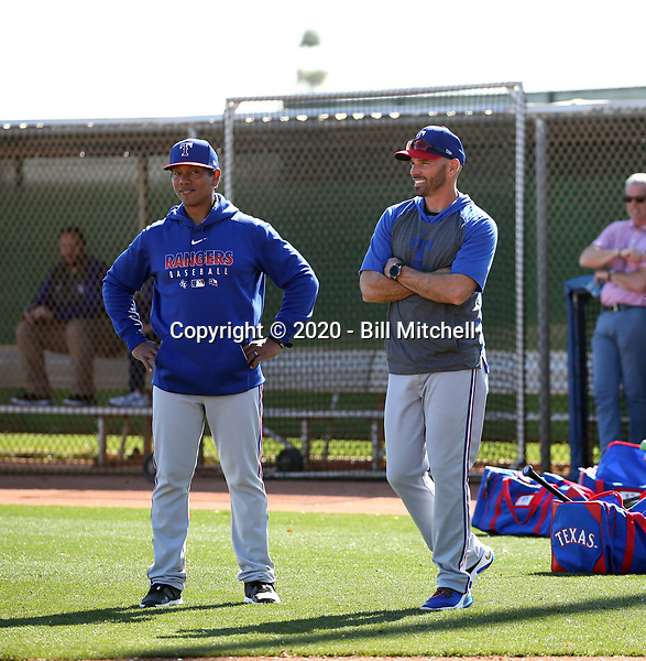 Luis Ortiz, hitting coach (left) - Chris Woodward, manager (right) - Texas Rangers 2020 spring training (Bill Mitchell)