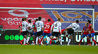 31st October 2020; Liberty Stadium, Swansea, Glamorgan, Wales; English Football League Championship Football, Swansea City versus Blackburn Rovers; Ben Cabango of Swansea City scores his sides first goal in the 25th minute in the match to make the score 1-0
