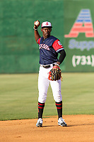 Jackson Generals shortstop Jazz Chisholm (3) throws the ball around the infield between innings of a Southern League game against the Biloxi Shuckers on June 14, 2019 at The Ballpark at Jackson in Jackson, Tennessee. Jackson defeated Biloxi 4-3. (Brad Krause/Four Seam Images)