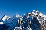 CHE, Schweiz, Kanton Bern, Berner Oberland, Muerren: Eiger (3.970 m), Moench (4.107 m) und Jungfrau (4.158 m)   CHE, Switzerland, Canton Bern, Bernese Oberland, Muerren: Eiger (3.970 m), Moench (4.107 m) und Jungfrau (4.158 m)