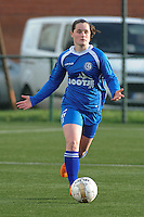 20160116 - ZULTE , BELGIUM : Gent's Demi Maris  pictured during a soccer match between the women teams of ZULTE-WAREGEM and AA GENT B  , during the fifteenth matchday in the First League - Eerste Nationale season, Saturday 16 January 2016 . PHOTO DIRK VUYLSTEKE