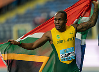 2nd May 2021; Silesian Stadium, Chorzow, Poland; World Athletics Relays 2021. Day 2; Simbini of South Africa celebrates his teams victory in the 4 x 100 wrapped in a national flag