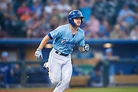 Omaha Storm Chasers Kyle Isbel (3) runs to first base during a game against the Iowa Cubs on August 14, 2021 at Werner Park in Omaha, Nebraska. (Zachary Lucy/Four Seam Images)