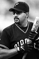 Orlando Merced of the Pittsburgh Pirates at Dodger Stadium in Los Angeles,California during the 1996 season. (Larry Goren/Four Seam Images)