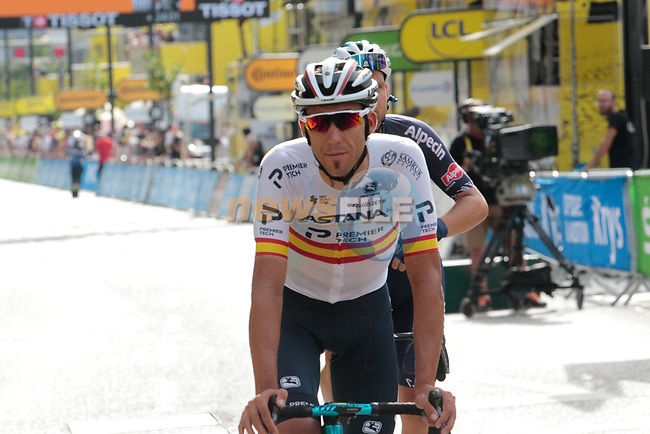 Spanish Champion Omar Fraile (ESP) Astana-Premier Tech crosses the finish line at the end of Stage 15 of the 2021 Tour de France, running 191.3km from Céret to Andorre-La-Vieille, Andorra. 11th July 2021.  <br /> Picture: Colin Flockton | Cyclefile<br /> <br /> All photos usage must carry mandatory copyright credit (© Cyclefile | Colin Flockton)