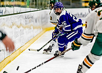 16 February 2019: Holy Cross Crusader Forward Maggie Hallisey, a Junior from Wethersfield, CT, in action against the University of Vermont Catamounts at Gutterson Fieldhouse in Burlington, Vermont. The Lady Cats defeated the Crusaders 4-1 to sweep their 2-game weekend series. Mandatory Credit: Ed Wolfstein Photo *** RAW (NEF) Image File Available ***