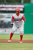 Williamsport Crosscutters designated hitter Brayan Gonzalez (2) leads off second base during a game against the Batavia Muckdogs on June 22, 2018 at Dwyer Stadium in Batavia, New York.  Williamsport defeated Batavia 9-7.  (Mike Janes/Four Seam Images)