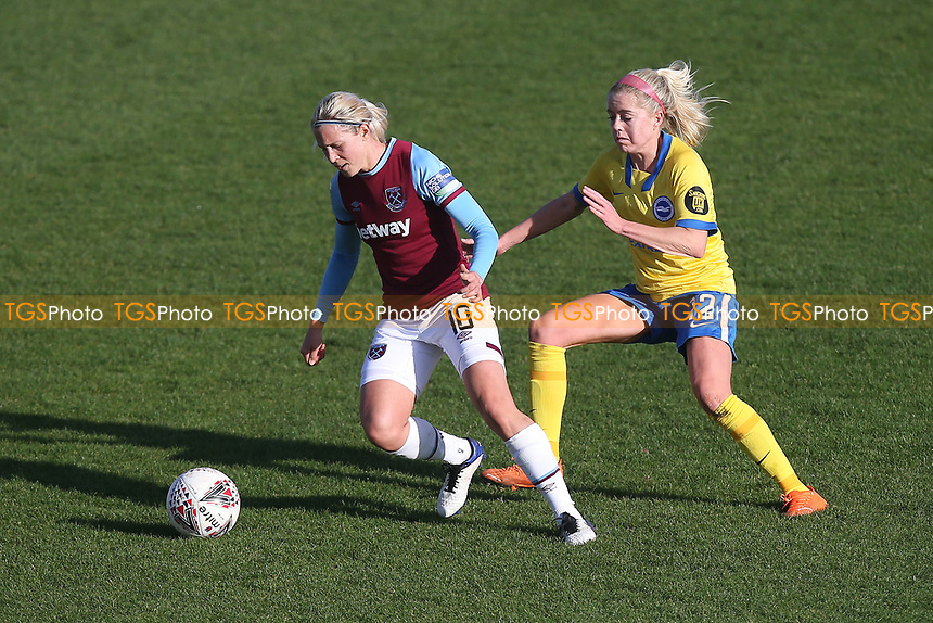 Katerina Svitkova of West Ham evades Denise O'Sullivan of Brighton  during West Ham United Women vs Brighton & Hove Albion Women, Barclays FA Women's Super League Football at the Chigwell Construction Stadium on 15th November 2020