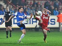 KV Kortrijk - Racing Genk : duel om de bal tussen Brecht Dejaegere (rechts) en Daniel Toszer.foto VDB / BART VANDENBROUCKE