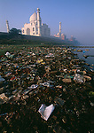 Rubbish collected on the banks of the Yamuna River, next to the Taj Mahal. Agra, India.