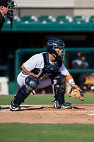 Detroit Tigers catcher Brady Policelli (71) waits to receive a pitch during a Florida Instructional League game against the Pittsburgh Pirates on October 6, 2018 at Joker Marchant Stadium in Lakeland, Florida.  (Mike Janes/Four Seam Images)