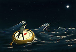 Illustrative image of businessman on compass boat representing path to success