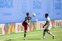 LAKE BUENA VISTA, FL - JULY 13: Joseph Mora #28 of DC United kicks the ball during a game between D.C. United and Toronto FC at Wide World of Sports on July 13, 2020 in Lake Buena Vista, Florida.