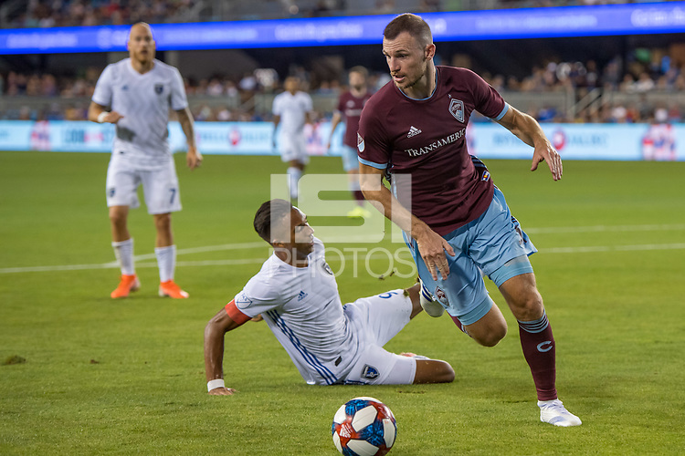 SAN JOSÉ CA - JULY 27: Danny Hoesen #9, Tommy Smith #5 during a Major League Soccer (MLS) match between the San Jose Earthquakes and the Colorado Rapids on July 27, 2019 at Avaya Stadium in San José, California.