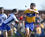 Cathal Malone of Clare  in action against Pauric Mahony of Waterford during their National League game at Cusack Park. Photograph by John Kelly.