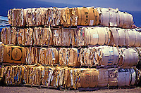 Bundles of cardboard are stacked on pallets for recycling.