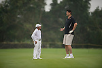 Gary Player (left) and Yao Ming (right) during the World Celebrity Pro-Am 2016 Mission Hills China Golf Tournament on 23 October 2016, in Haikou, Hainan province, China. Photo by Marcio Machado / Power Sport Images