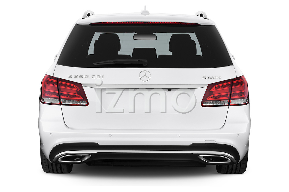 Straight rear view of a 2015 Mercedes Benz Classe E E250 4Matic 5 Door Wagon 4WD Rear View  stock images