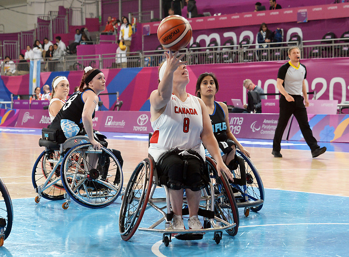 Tamamra Steeves, Lima 2019 - Wheelchair Basketball // Basketball en fauteuil roulant.<br /> Women's wheelchair basketball competes against Argentina // Le basketball en fauteuil roulant féminin contre Argentine. 25/08/2019.