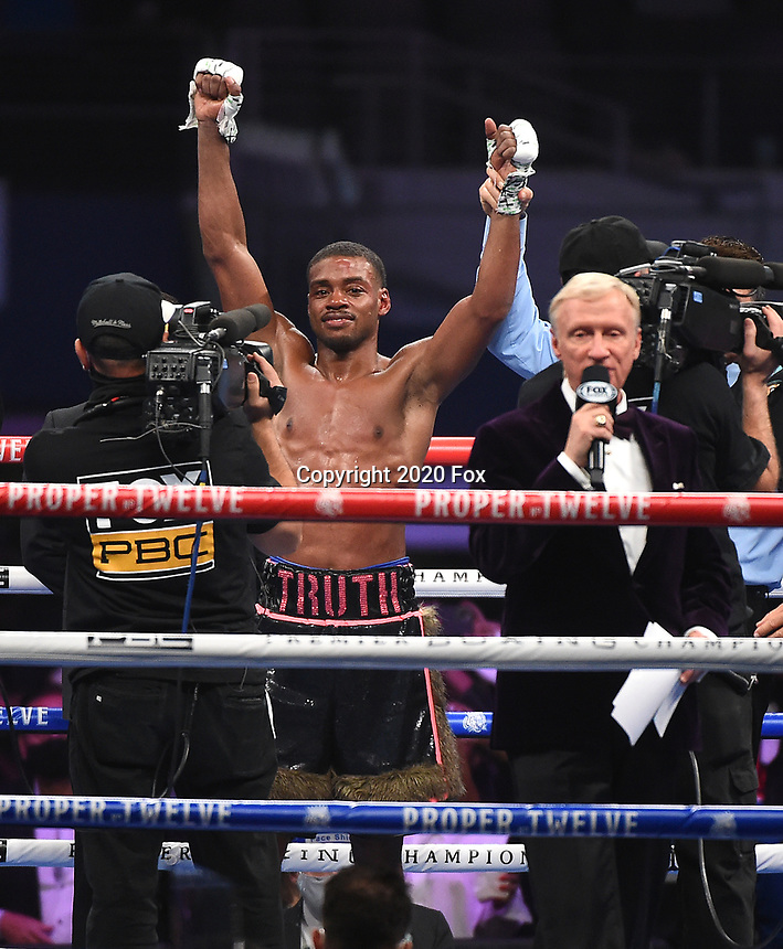 ARLINGTON, TX - DECEMBER 5: Errol Spence Jr. after defeating Danny Garcia on Fox Sports PBC Pay-Per-View fight night at AT&T Stadium in Arlington, Texas on December 5, 2020. (Photo by Frank Micelotta/Fox Sports)